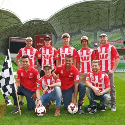 <p>Monster Yamaha Tech 3 Team rider Bradley Smith, along with Michael Laverty, Bryan Staring, Damian Cudlin, Ant West, Jack Miller and Arthur Sissis had the opportunity to meet Melbourne Heart FC defender Patrick Kisnorbo and winger Iain Ramsay at AAMI Park asa media event in the build-up to the Tissot Australian Grand Prix.</p>