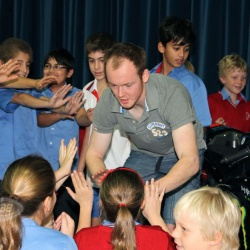 <p>Various images of Bradley attending St. Christopher's School in Bahrain as part of his tour of the Middle East.<br />Photos courtesy of <strong>©Bronwyn Kruger</strong></p>
