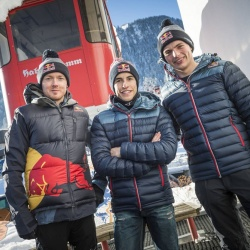 <p>Bradley Smith, Marc Marquez, Max Verstappen amongst other Red Bull athletes at the FIS Alpine Skiing World Cup 2016 - 2017 Kitzbühel, Austria.</p>