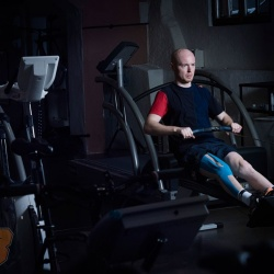 <p>Bradley Smith, working hard on his rehabilitation at the Red Bull DTC training centre in Thalgau, Austria.
